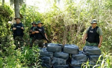 Itatí: hallaron casi media tonelada de droga oculta en una zona de monte.