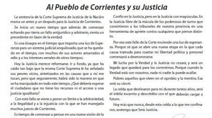 Tato volvió a dirigirse a la Justicia de Corrientes