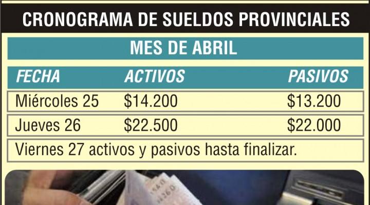 Mañana inicia pago de sueldos provinciales
