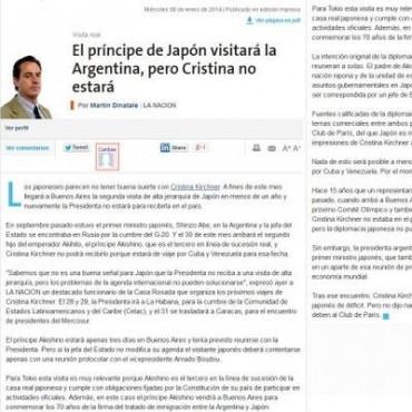 Cristina recibió al príncipe japonés, y por Twitter desmintió a La Nación