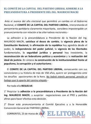 PL: el Comité Capital resolvió adherir a la candidatura presidencial de Mauricio Macri