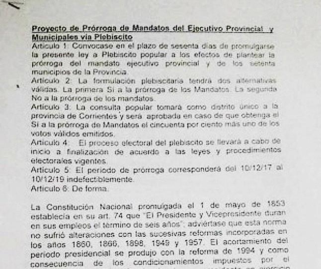Presentan un proyecto de Ley para la prórroga de mandatos