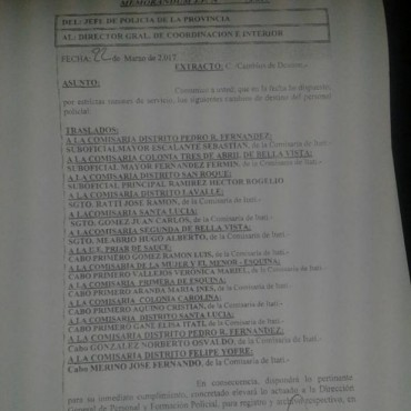 Recambio completo de personal policial en la comisaría de Itatí (listado)