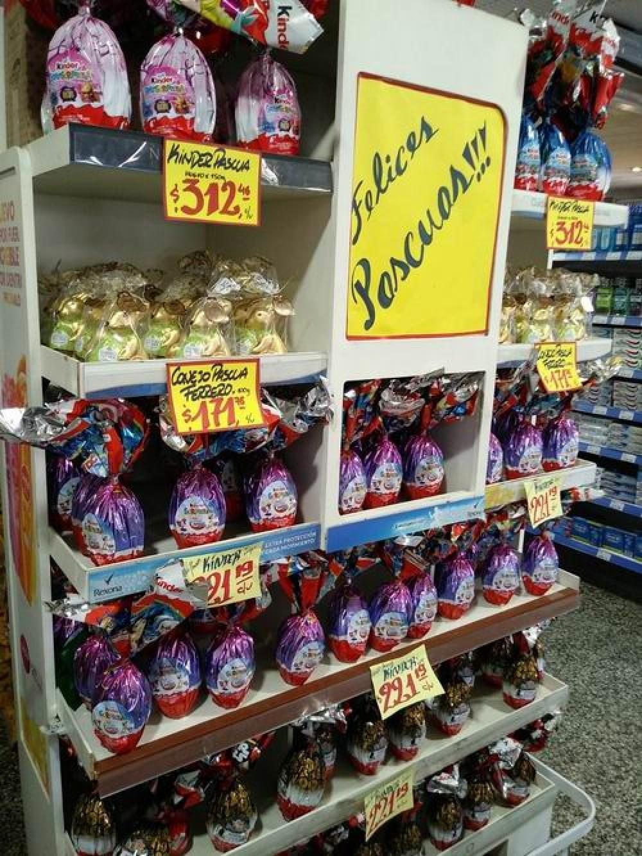 Las góndolas exhiben huevos de pascua desde $40 a $500