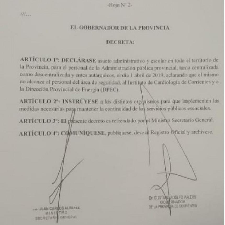 Valdés anunció que el 1° de abril será asueto