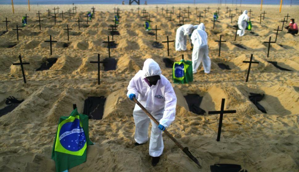 Asolado por Covid: Brasil registra 3.200 muertes por día