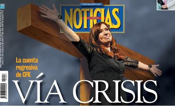La Iglesia repudió la tapa de Noticias, que muestra a Cristina crucificada