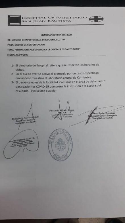 Se activó el protocolo por caso sospecho de Codiv-19: el paciente fue aislado