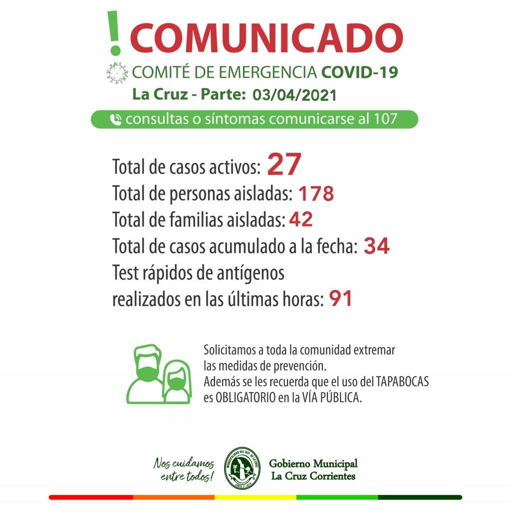 Según el gobierno municipal siguen siendo veintisiete los casos activos