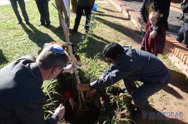 Como Francisco, estudiantes unieron credos para plantar un olivo por la paz