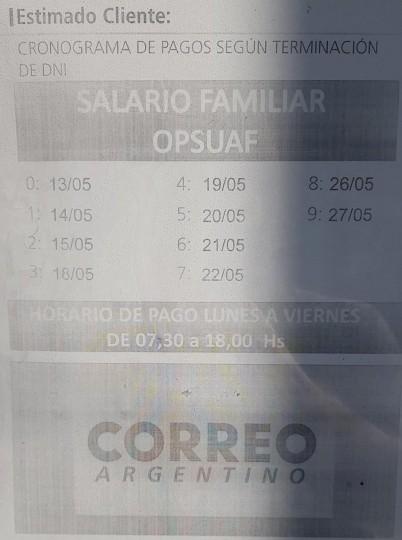 Mañana empieza el pago de AUH y asignación familiar en Correo Argentino