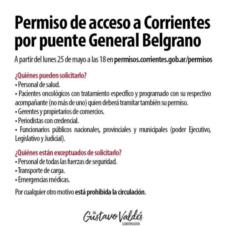 Valdés anunció restricciones para ingresar a Corrientes