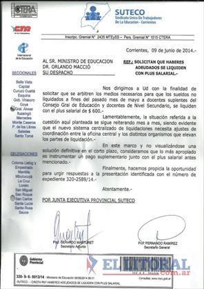 Suteco reclamó a Educación que los sueldos adeudados se abonen junto al adicional