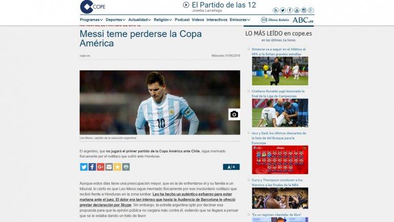 Messi se perdería la Copa América, según lo que informan algunos medios españoles