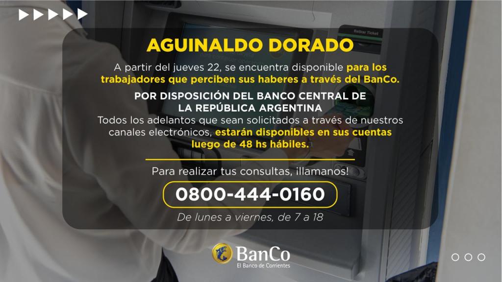 BanCo: ya está disponible el Aguinaldo Dorado