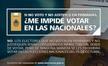 Quienes no votaron en las PASO son infractores, pero podrán participar de las elecciones de octubre