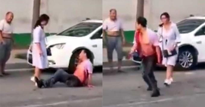 Apuñaló salvajemente en la calle a su esposo infiel