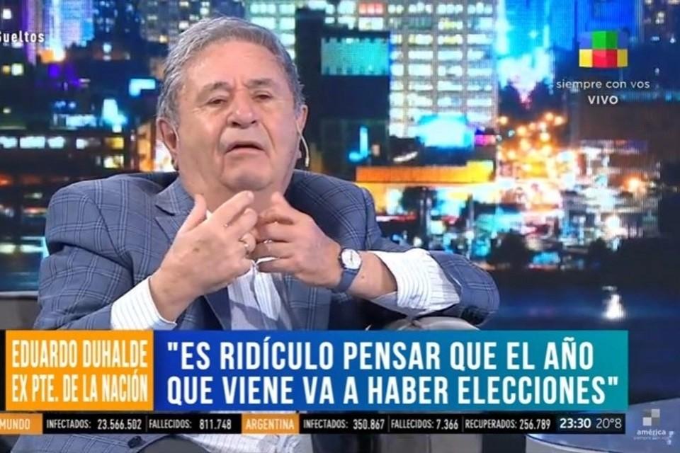 Duhalde habló de un golpe de Estado y recibió rechazos de todos lados
