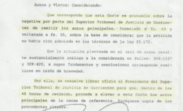 La Corte intimó al Superior Tribunal de Corrientes