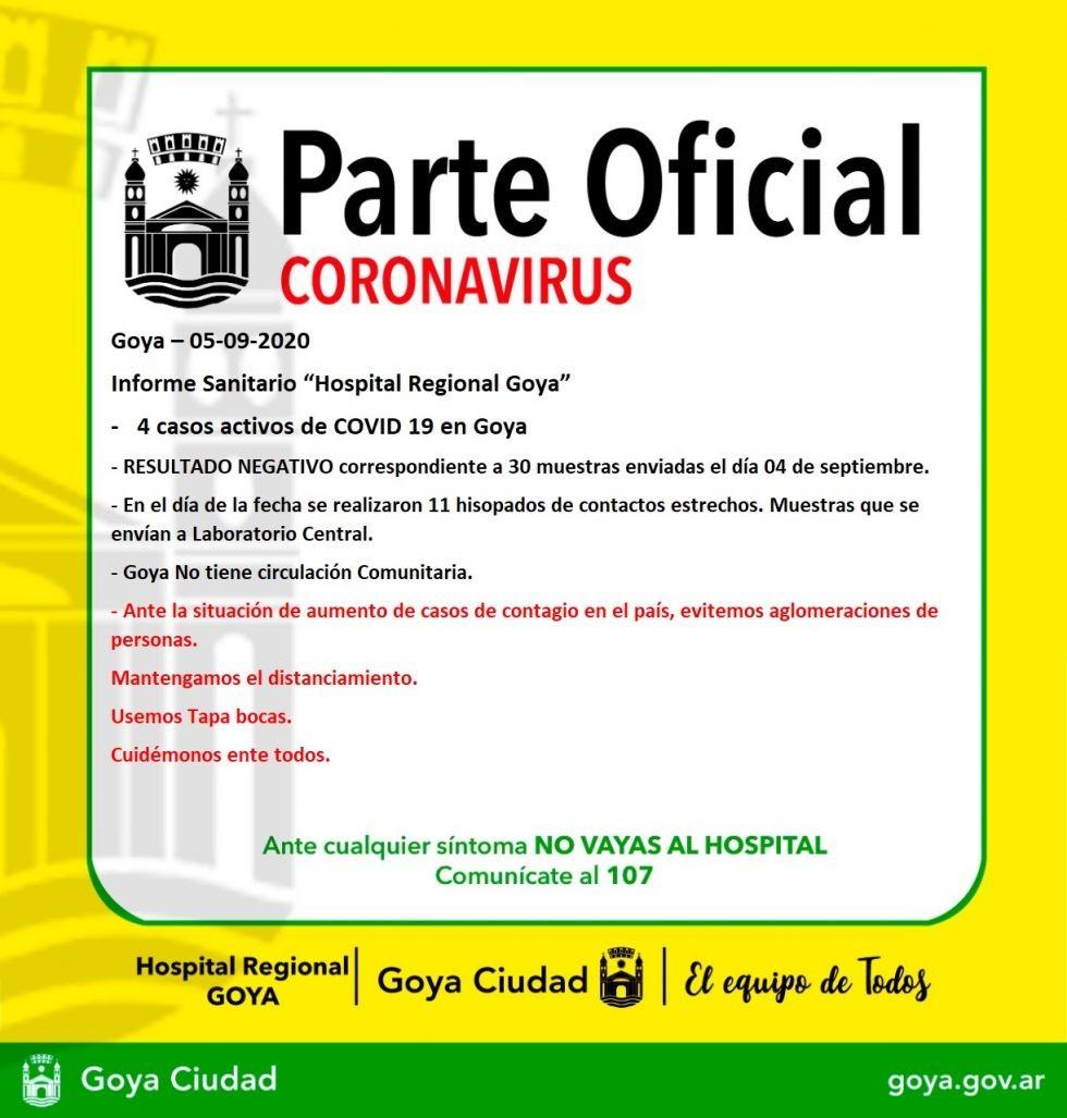 Coronavirus en Goya: Dieron negativo 30 hisopados y se mantienen 4 casos activos