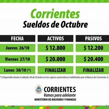 Desde mañana, Provincia paga los sueldos de octubre a 75 mil estatales