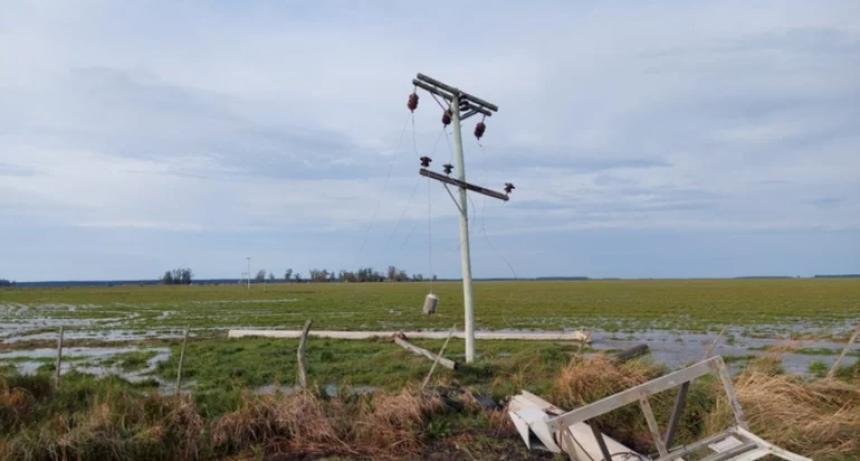 Una tormenta de viento tiró 24 postes de la Dpec: varias localidades sin servicio