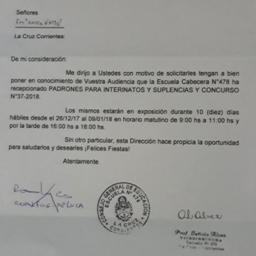 Padrones para Interinatos y Suplencias y Concurso N° 37-2018 en exposición.