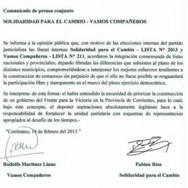 La cúpula del Partido Justicialista acordó con Vamos Compañeros