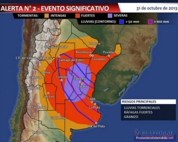 Tormentas: además de Corrientes están en alerta otras ocho provincias